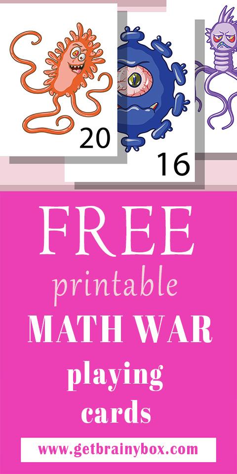 free printable math war cards - a pinterest friendly image